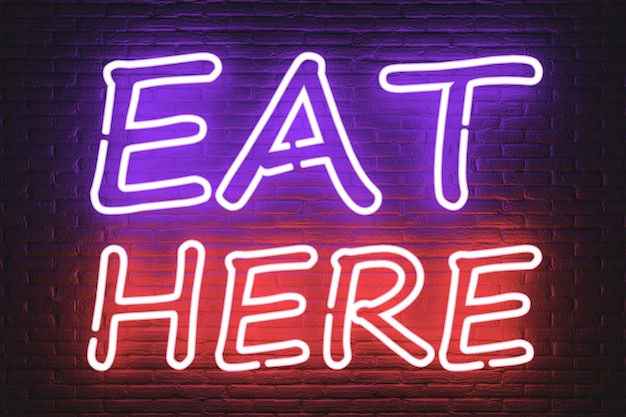 Eat here neon sign extreme closeup. 3d rendering