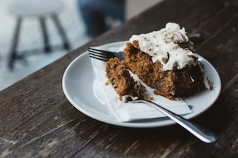 Eating carrot cake in a coffeeshop