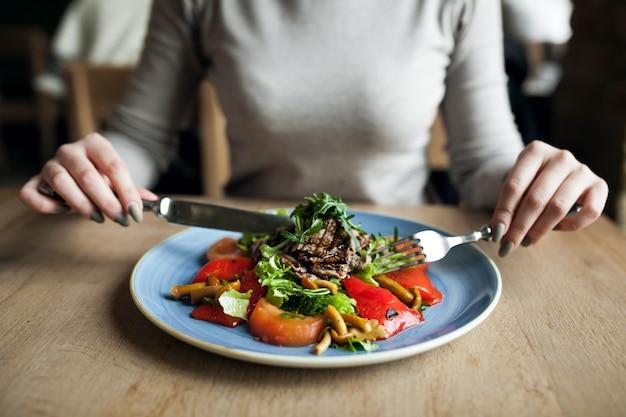 Eating salad healthy food people