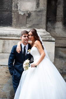 Eautiful young european bride and groom wedding day
