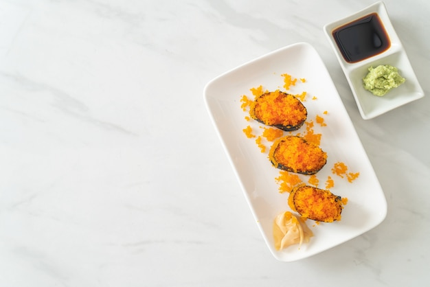 Ebiko sushi or shrimps egg sushi - японская кухня