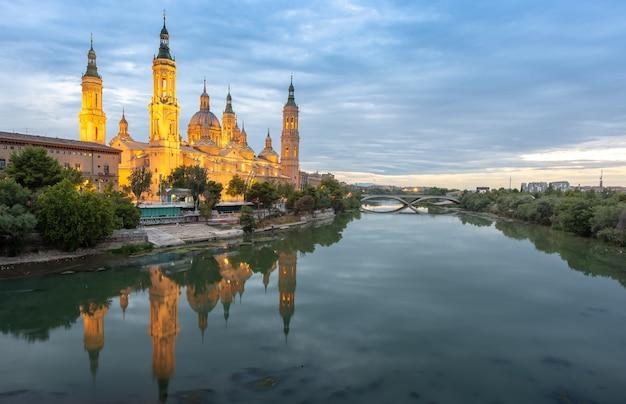 Ebro river near cathedral in zaragoza