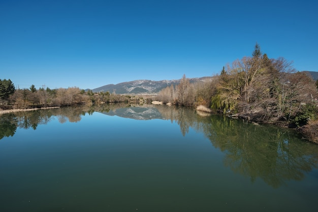 Ebro river in santa maria de garona, near nuclear power plant, castilla y leon, spain.