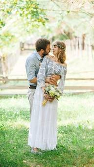 Eclectic rustic wedding couple