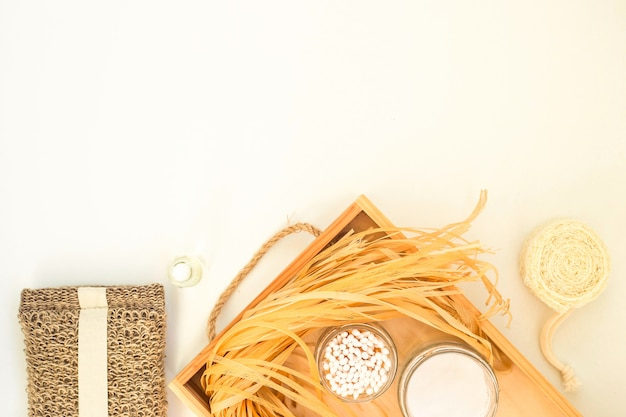 Eco accessories for body care and spa - bast, loofah, wooden cotton swabs