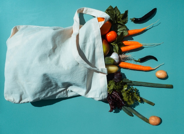 Eco bag with groceries on a colored background organic food scattering from the bag for a vegetarian