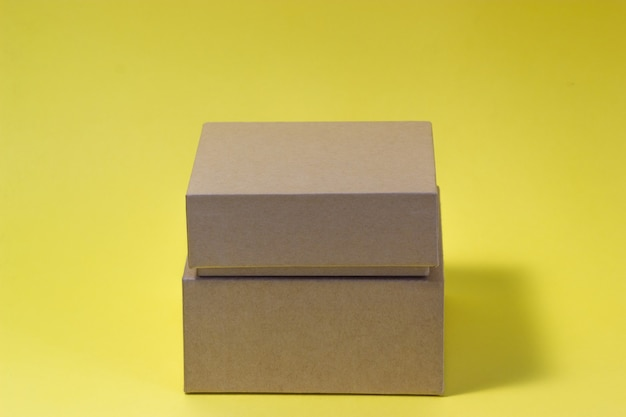 Eco box isolated on yellow background