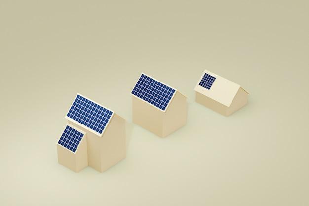 屋根の太陽電池パネルが付いているecoの建物の家、3d小話。