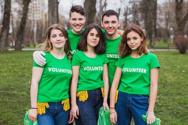 자원 봉사자의 그룹과 에코 개념
