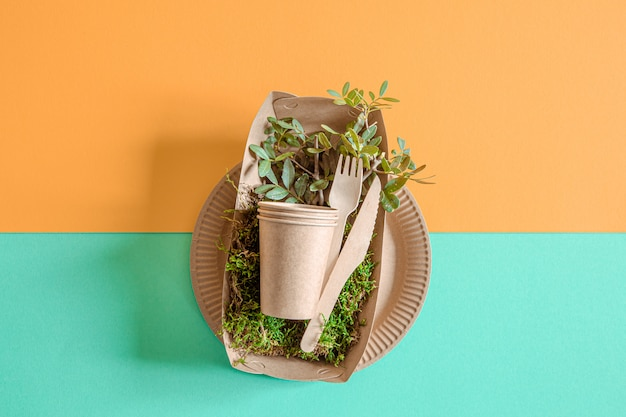 Eco craft paper tableware.