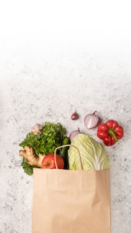 Eco day use shopping bag with vegetables grocery shopping in supermarket.