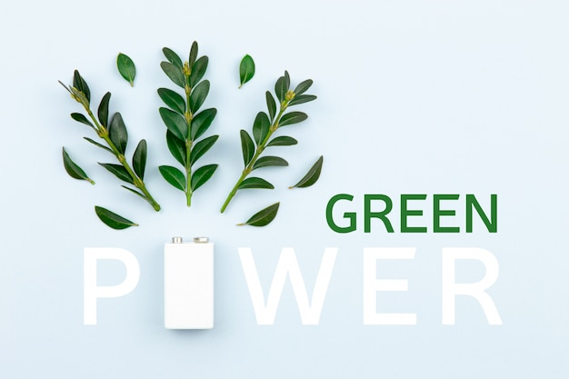 Eco energy and 'green power' text illustration with a white battery and sprigs leaves on a light background with copy space for text.
