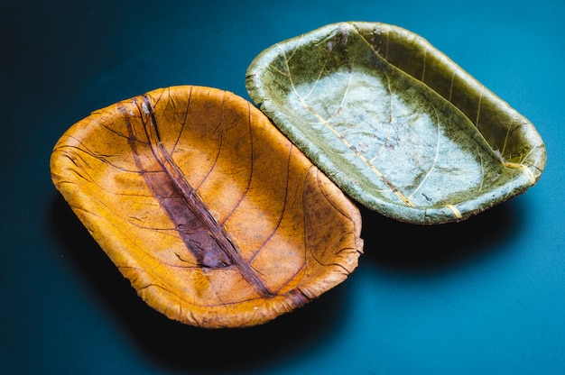 Eco environmentally friendly leaf plates from natural sustainable leaves, eco-friendly product for environment