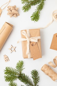 Eco friendly alternative green xmas gifts wrapped with recycled craft paper
