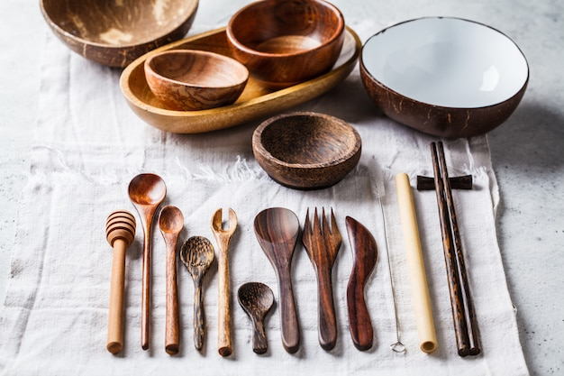 Eco friendly bamboo cutlery and dishes, zero waste concept.