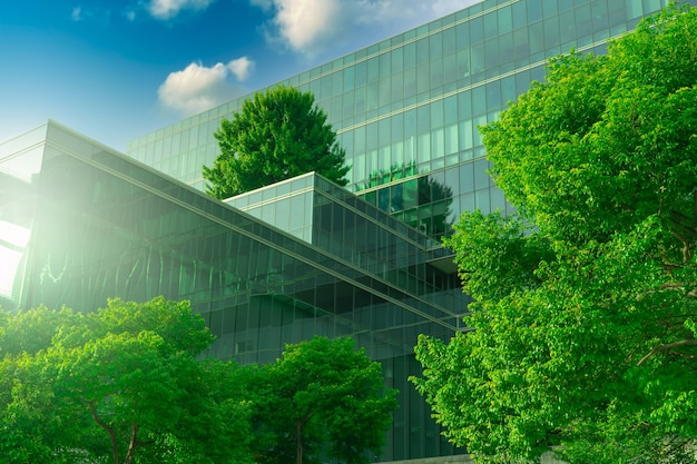 Eco-friendly building with vertical garden in modern city. green tree forest on sustainable glass building. energy-saving architecture with vertical garden. office building with green environment.