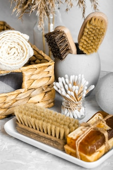 Eco-friendly cleaning products set with brushes and soaps
