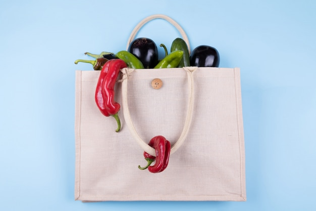 Eco friendly cotton bag with vegetables: eggplant, ugly peppers, tomatoes, zucchini on a pastel blue , minimal nature style