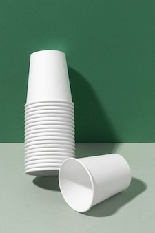 Eco-friendly cups leaning on a wall