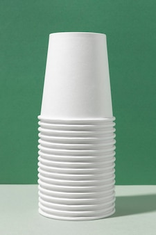 Eco-friendly cups in piles front view
