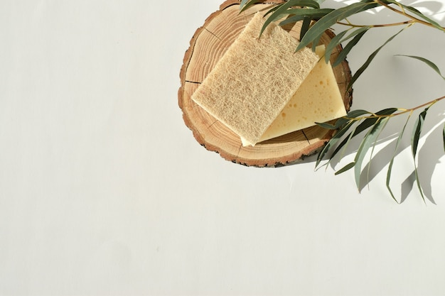 自然な影のある木製のキャットウォークにある環境に優しい食器用スポンジ