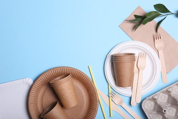 컬러 배경 평면도 친환경 요리에 친환경 요리