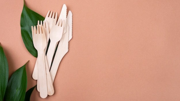 Eco friendly disposable cutlery tableware copy space