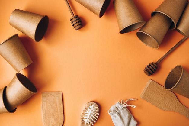 Экологически чистые одноразовые бумажные стаканчики, деревянные кухонные инструменты, расческа и хлопковая сумка
