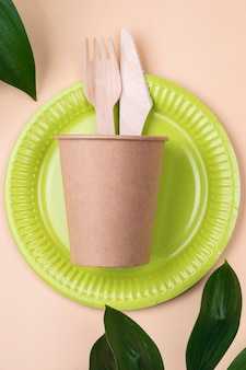 Eco friendly disposable tableware green plate