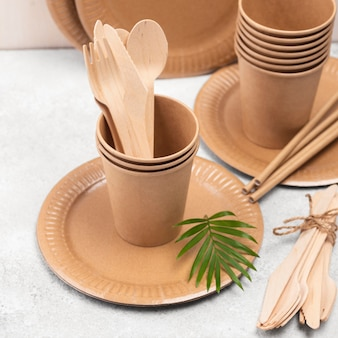 Eco friendly disposable tableware high view and plant