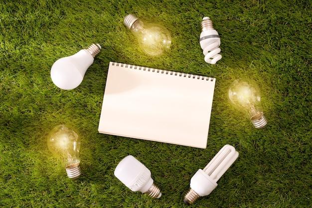 Экологичная концепция дня земли. беречь энергию.