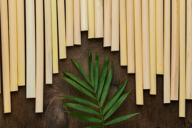 Priorità bassa delle cannucce del tubo di bambù dell'ambiente ecologico