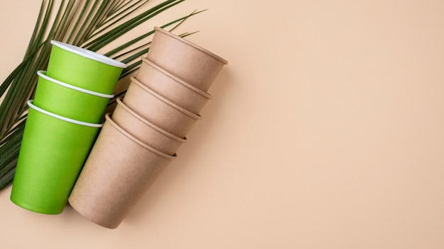 Eco friendly green and brown cups