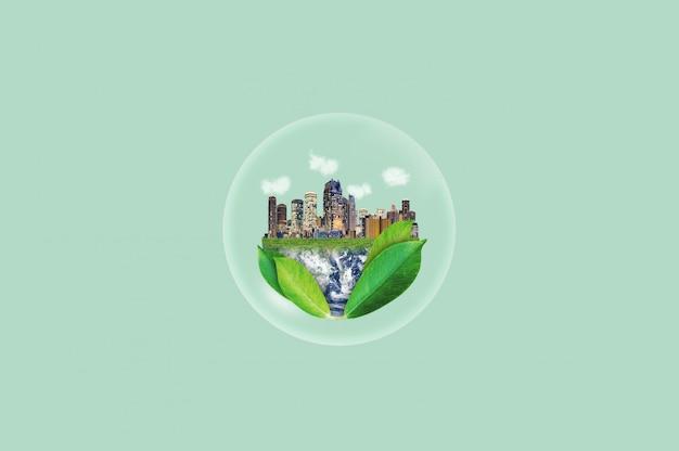 環境に優しい、緑豊かな街のコンセプトと環境保全。この画像の要素はnasaから提供されています