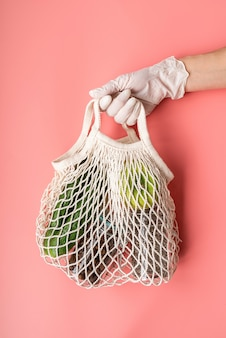 Eco friendly mesh bag with green vegetables