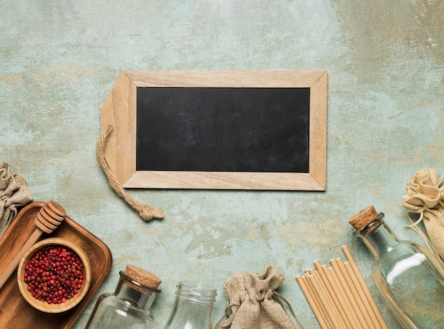 Eco friendly objects with chalkboard mock-up