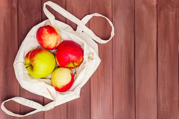 Eco friendly packaging, zero waste for free plastic shopping. fresh fruits in textile bag