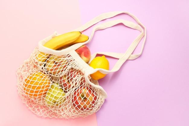 Экологичная многоразовая сумка для покупок из хлопка с фруктами