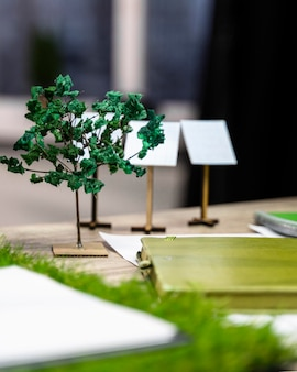 Eco-friendly wind power project layout on desk