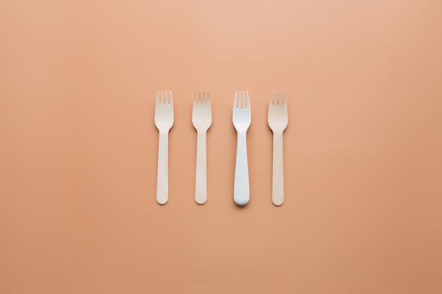 Eco-friendly wooden fork for takeaway food. zero waste and recycling concept. high quality photo