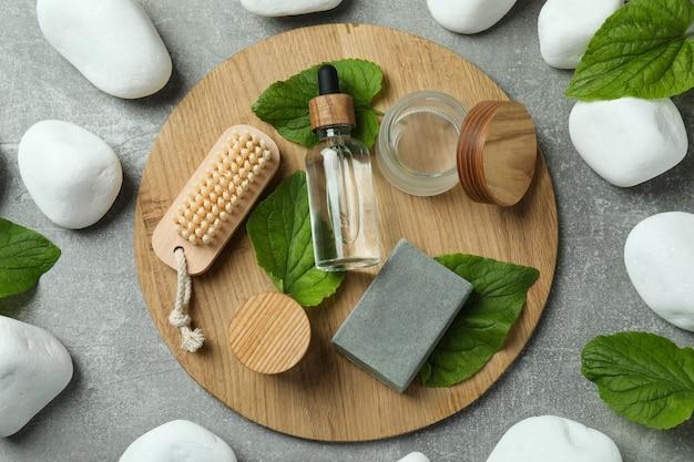 Eco friendly zero waste concept on gray textured table