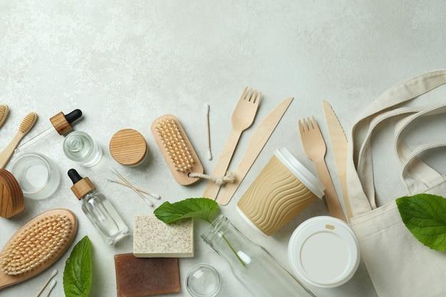 Eco friendly zero waste concept on white textured surface