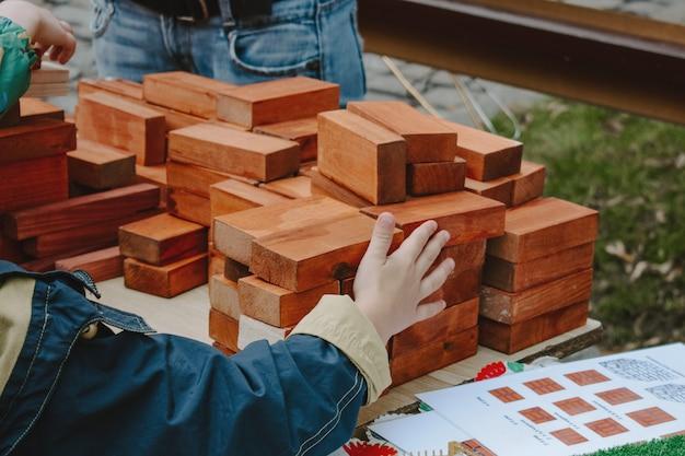 Eco friendly and zero waste wooden toy blocks.