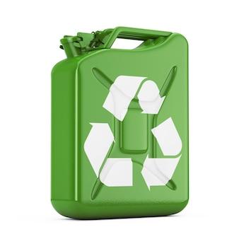 Концепция экологического топлива. зеленая металлическая канистра с рециркулирующим знаком на белом фоне. 3d рендеринг