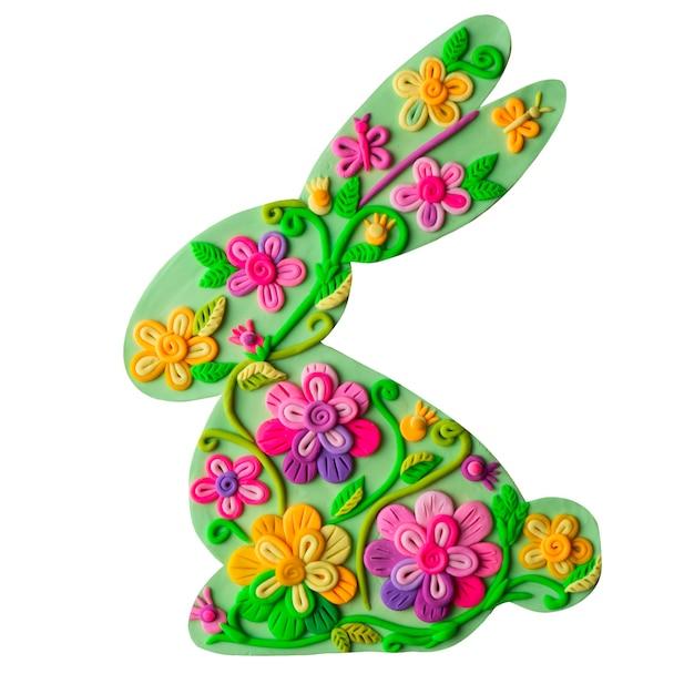 Эко зеленый цветочный пасхальный заяц ручной работы из пластилина