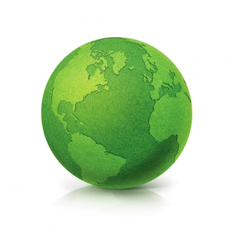 Eco green globe north and south america map on white isolated