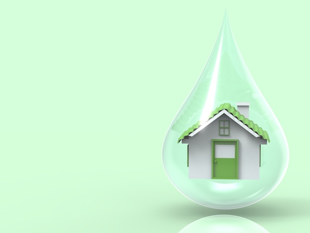 Eco home concept with green house model in water drop