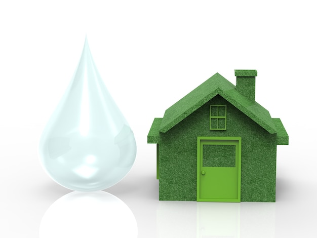 Eco home concept with green house model and water drops