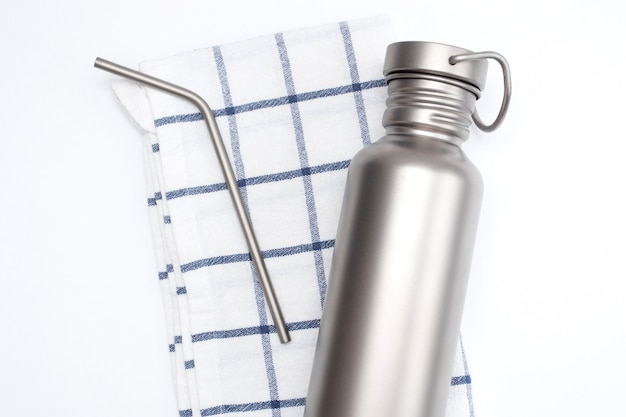 Eco hydration bottle and reusable stainless steel straws.