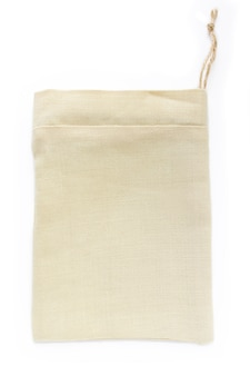 Eco natural cotton small sack bags, made of linen, mockup
